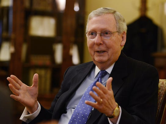 Senate Majority Leader Mitch McConnell is interviewed