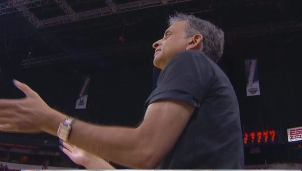 Kings owner Vivek Ranadive cheers on his team during the NBA Summer League quarterfinals against the Chicago Bulls.
