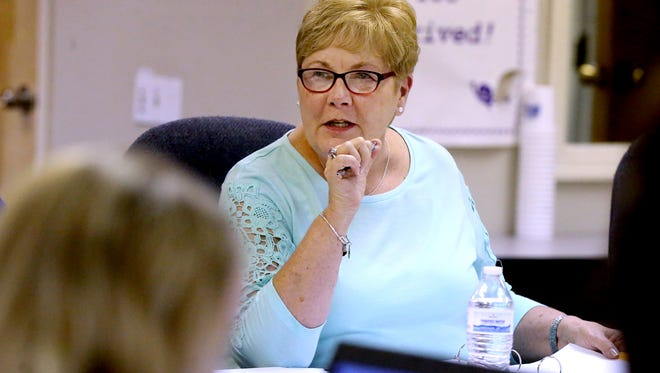 School Board member Nancy Rainier asks questions as the group meets to go over the proposed budge for next school year, with members of the school board during a meeting on Tuesday, April 19, 2016.