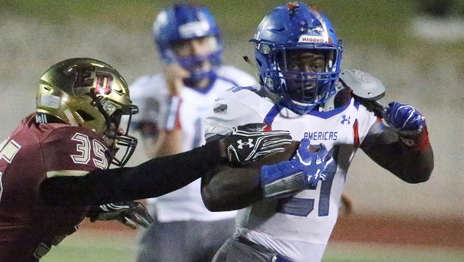 Americas running back Joshua Fields, 21, was named First-Team All-State in Class 6A football on Friday by the Texas Sports Writers Association.