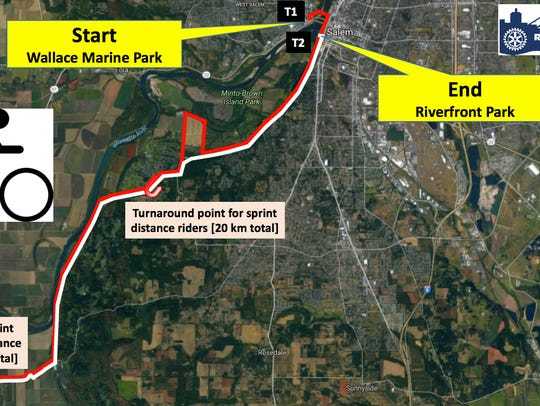 This map shows the biking route for the Rotary Triathlon