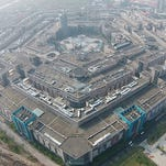 Aerial view of the Pentagon-like building complex taken Nov. 15, 2015, in Shanghai, China.  A building complex in Shanghai which highly resembles the Pentagon of the United States has regained public attention years after it was reported by foreign media in 2009.
