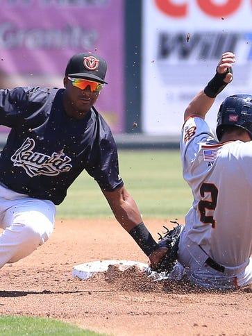 Rawhide's Domingo Leyba tags San Jose's (2) C J Hinojosa