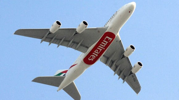 The first of Emirates Airlines' 58 Airbus A380 superjumbo