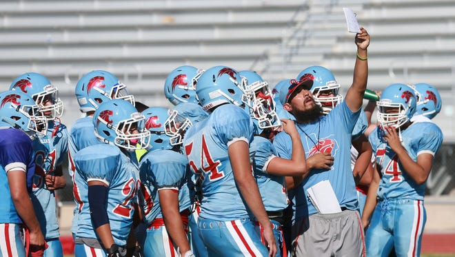 Anthony coach Michael Stephenson instructs his team Wednesday.