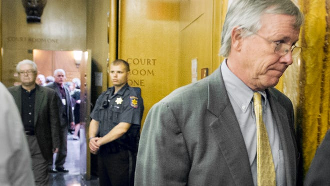 Former state Rep. Stephen Stetler of York leaves the courtroom in September 2012, after he was sentenced on political corruption convictions.