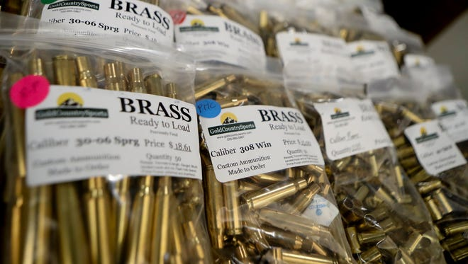 Bullets are sold at a gun show in Shasta County in July 2016.