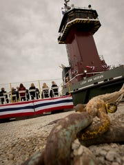 The tug Leigh Ann Moran is christened Tuesday morning