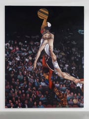 """Titus Kaphar's """"Ascension"""" (oil and wax on canvas with"""