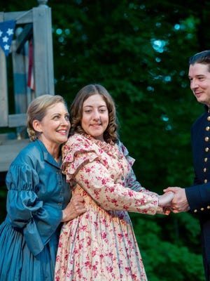 """Deborah Staples (left), Elyse Edelman and Rob Doyle perform in """"Much Ado About Nothing,"""" staged by Door Shakespeare."""