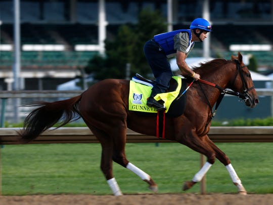 Gunnevera, trained by Antonio Sano, worked out at Churchill Downs. April 27, 2017.