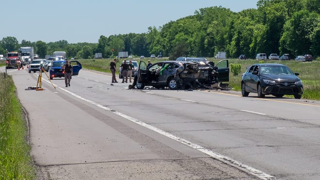 One person was killed and two others were injured in a three-vehicle crash on Interstate 96 near M-52 on Thursday, June 1, 2017.