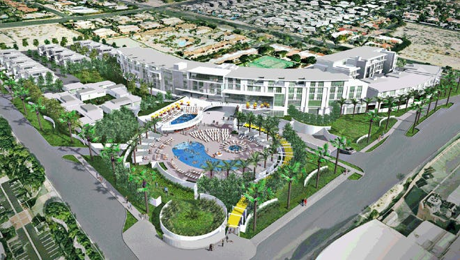 An artist?s rendering shows the proposed Selene Palm Springs hotel and condo property near downtown.  Courtesy Dolce Palm Springs