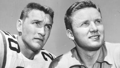 Former LSU coach Paul Dietzel poses with running back great Billy Cannon during his coaching days with the Tigers.