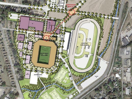 The site plan for a proposed MLS stadium in Nashville