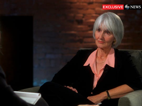 """In this undated image provided by ABC News, television anchor Diane Sawyer, left, interviews Sue Klebold, right, the mother of Columbine High School shooter Dylan Klebold on """"20/20,"""" in Denver.  The special edition exclusive interview aired Friday, Feb. 12, 2016."""