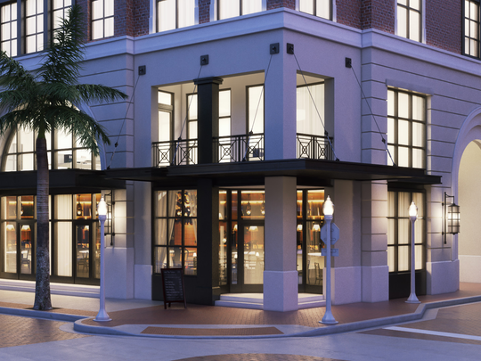 A rendering of the lower floors of The Place on First in downtown Fort Myers.