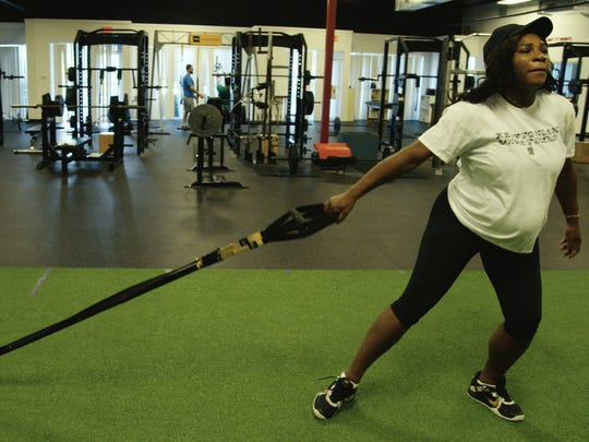 Serena Williams trains during her pregnancy in the