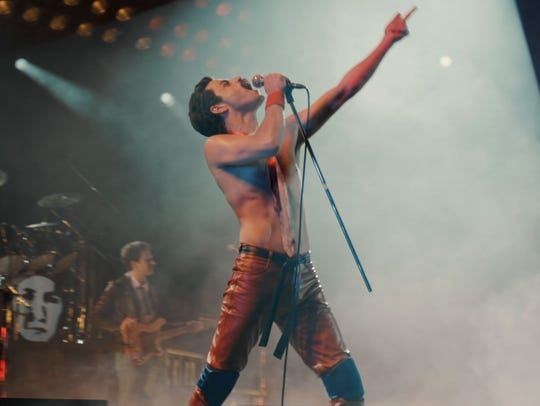 "Rami Malek as Freddie Mercury's ""Leather Freddie"" persona in ""Bohemian Rhapsody."""