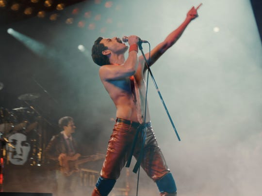 "Rami Malek as Freddie Mercury's ""Leather Freddie"" persona in ""Bohemian Rhapsody."""