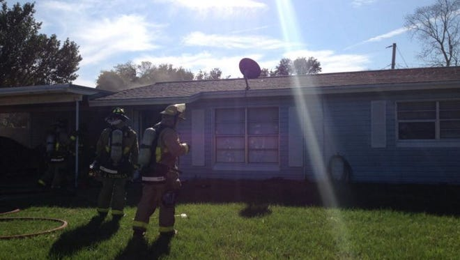 A fire damaged a home in Titusville on Tuesday.
