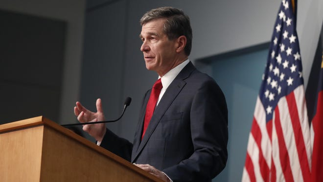 North Carolina Gov. Roy Cooper speaks during a briefing at the Emergency Operations Center in Raleigh June 2.