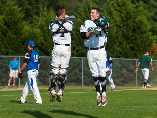 Parkside's Jack Goertzen and left fielder Dalton Swangercelebrate a 3-run walk-off double by Swanger to give the Rams a 10-0victory over North Caroline on Tuesday.