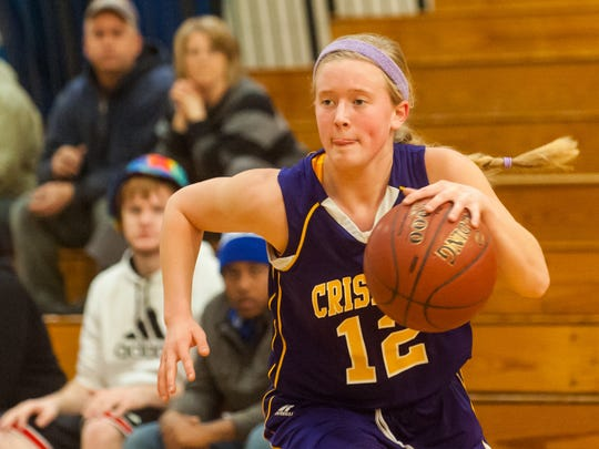 Crisfield's Arielle Johnston (12) works up court against Wicomico on Monday afternoon at Wicomico High.