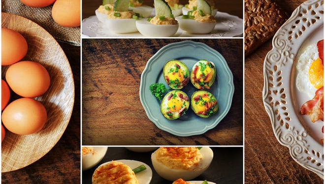 Easter background. Collage of delicious eggs recipes .