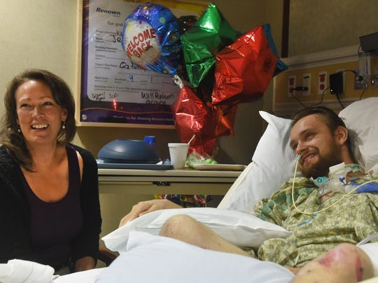 Gabe Kennedy and his mom, Solea Kennedy, are interviewed at Renown Medical Center.