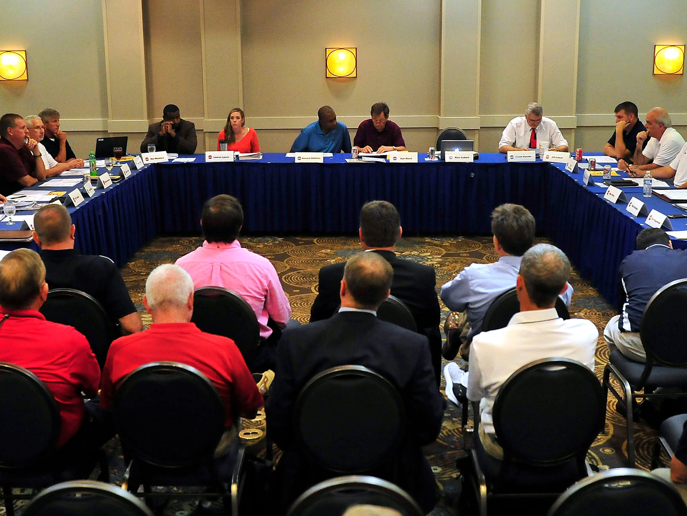 The TSSAA Legislative Council meeting is held to vote on seven proposed changes to its constitutional bylaws at DoubleTree Hotel in Murfreesboro, Tenn., Tuesday, Sept. 1, 2015.