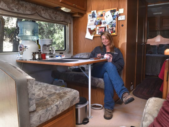 Stacy Hyatt, who lost her home when the Thomas Fire
