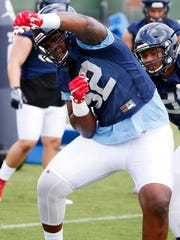 Ole Miss defender Austrian Robinson practices in 2016 with a different number.