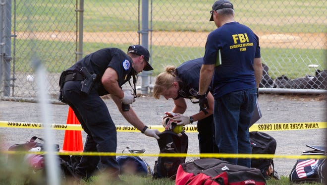A gunman fired on a congressional baseball practice on June 14, 2017, injuring House Majority Whip Steve Scalise, R-La., and others in Alexandria, Virginia.