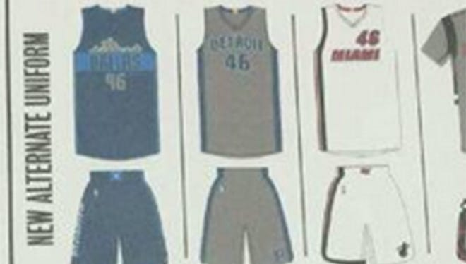 A screen grab of the new supposedly leaked Detroit Pistons uniform
