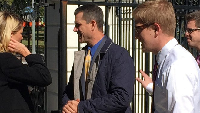Michigan football coach Jim Harbaugh at the White House on Monday, Oct. 19, 2015, in Washington, DC.