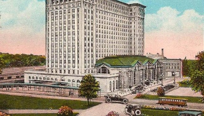 A postcard of the Michigan Central Station train depot.