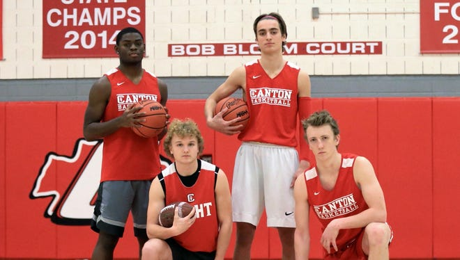 Five seniors on the standout 2017 Canton football team are making a winning impact on the varsity boys basketball team this season. From left are Noah Brown, Connor Engel, Danny Lanava and Chase Meredith. Not pictured is Colin Troup, sidelined by an injury.