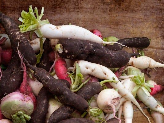 Freshly picked root vegetables