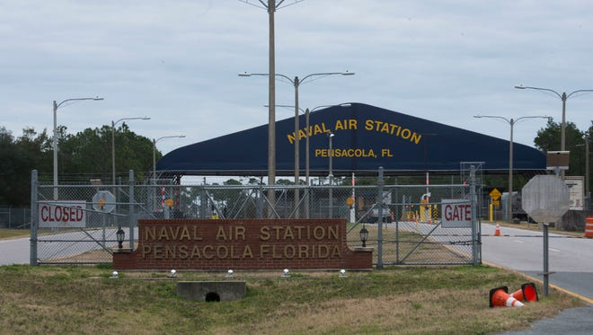 Pensacola Naval Air Station's west gate at Blue Angel Parkway is pictured in this file photo.