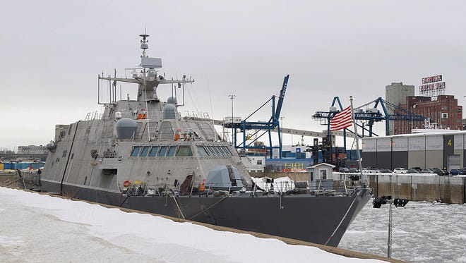The USS Little Rock is moored Sunday in Montreal. The newly commissioned Navy warship will be wintering in Montreal after its journey to Florida was blocked by cold and ice.