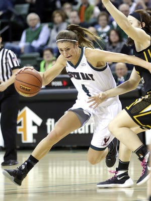 UWGB guard Kaili Lukan (4) tries to drive against the Northern Kentucky Norse at the Kress Center on Saturday.