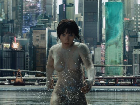 """Scarlett Johansson plays The Major in """"Ghost in the Shell.""""  The movie is playing at Regal West Manchester Stadium 13, Frank Theatres Queensgate Stadium 13 and R/C Hanover Movies."""