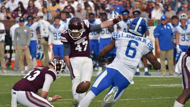 Mississippi State Bulldogs place kicker Jace Christmann (47) kicks a field goal against Kentucky Wildcats cornerback Lonnie Johnson (6) during the first half at Davis Wade Stadium on Saturday, Oct. 21, 2017, in Starkville, Mississippi.