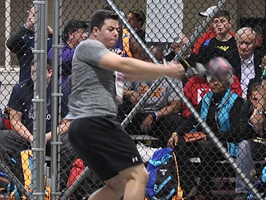 Briarcliff's Jack Zimmerman prepares to throw the weight. He threw a personal best in the weight throw at the New Balance Indoor Nationals.
