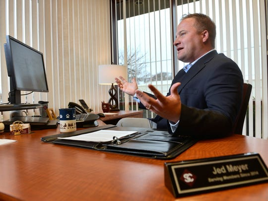 Jed Meyer, President and CEO of St. Cloud Federal Credit Union talks in his office Friday, Dec. 11, 2015.