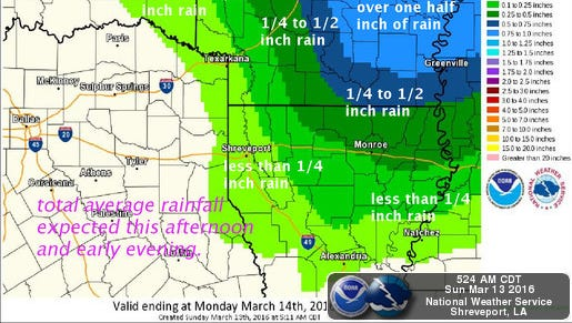National Weather Service map for Sunday.