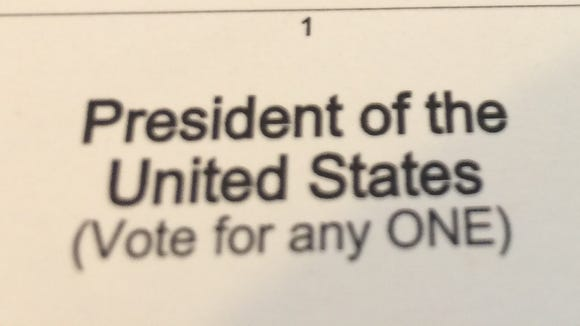 Part of Tina MacIntyre-Yee's presidential primary ballot.