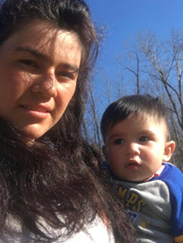 Selena Hidalgo -Calderon, 18, and her son Owen, 14