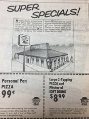 A December 24th, 1985 ad for Pizza Hut weekly specials.